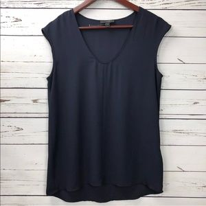 J Crew Navy Blue Cap Sleeve Shirttail Blouse Top